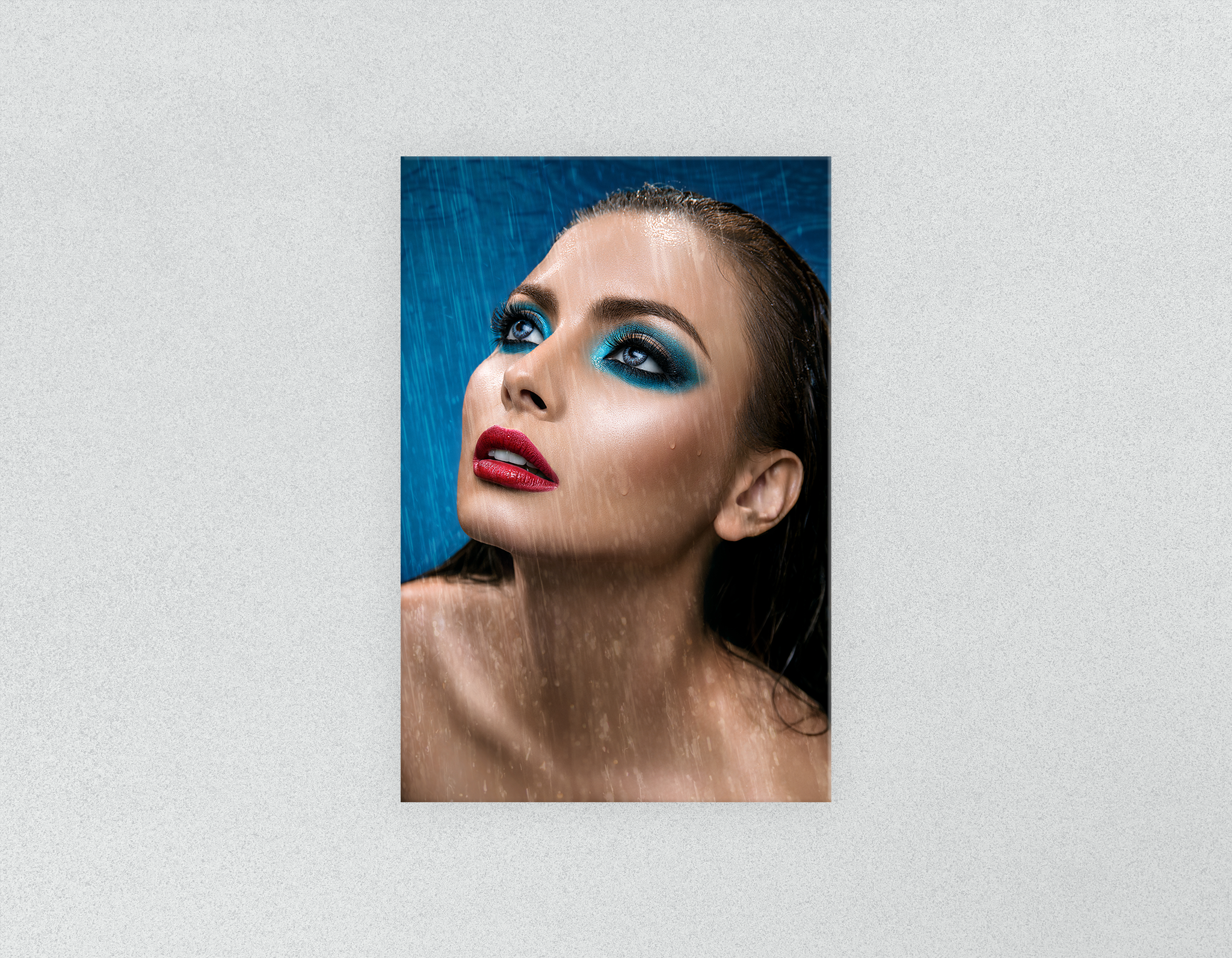 Plastic Salon Posters & Salon Posters: Woman in Bright Blue Eyeshadow in the Rain