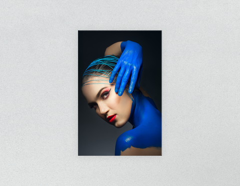 Plastic Salon Posters & Salon Posters: Woman in Blue Body Paint and Red Makeup