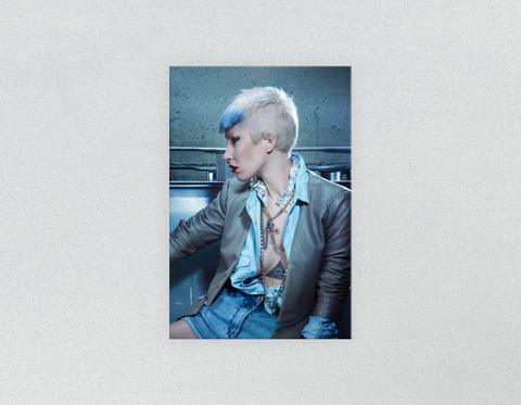 Plastic Salon Posters: Woman with Pixie Cut and Blue Highlights