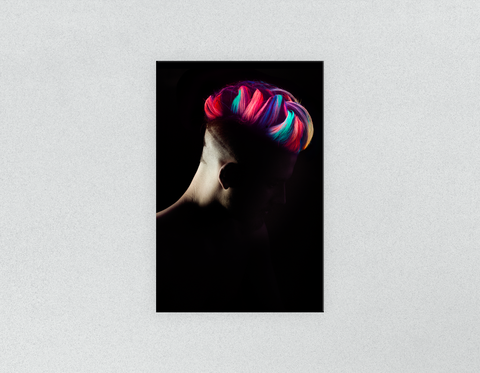 Plastic Salon Posters & Salon Posters: Man in Silhouette with Neon Colored Unicorn Hair
