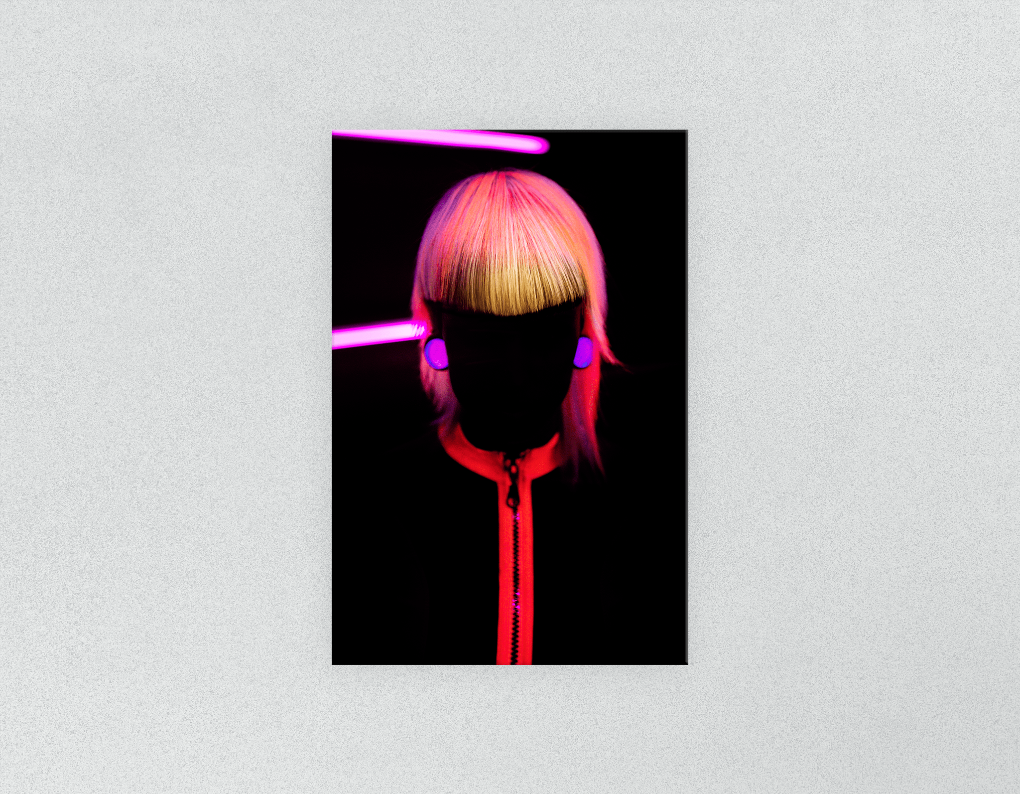 Plastic Salon Posters: Bob with Neon Colored Hairstyle in Silhouette