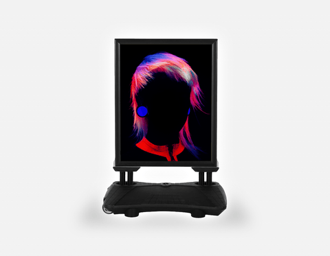 Water Base Pavements Sign: Bob with Neon Colored Hairstyle in Silhouette