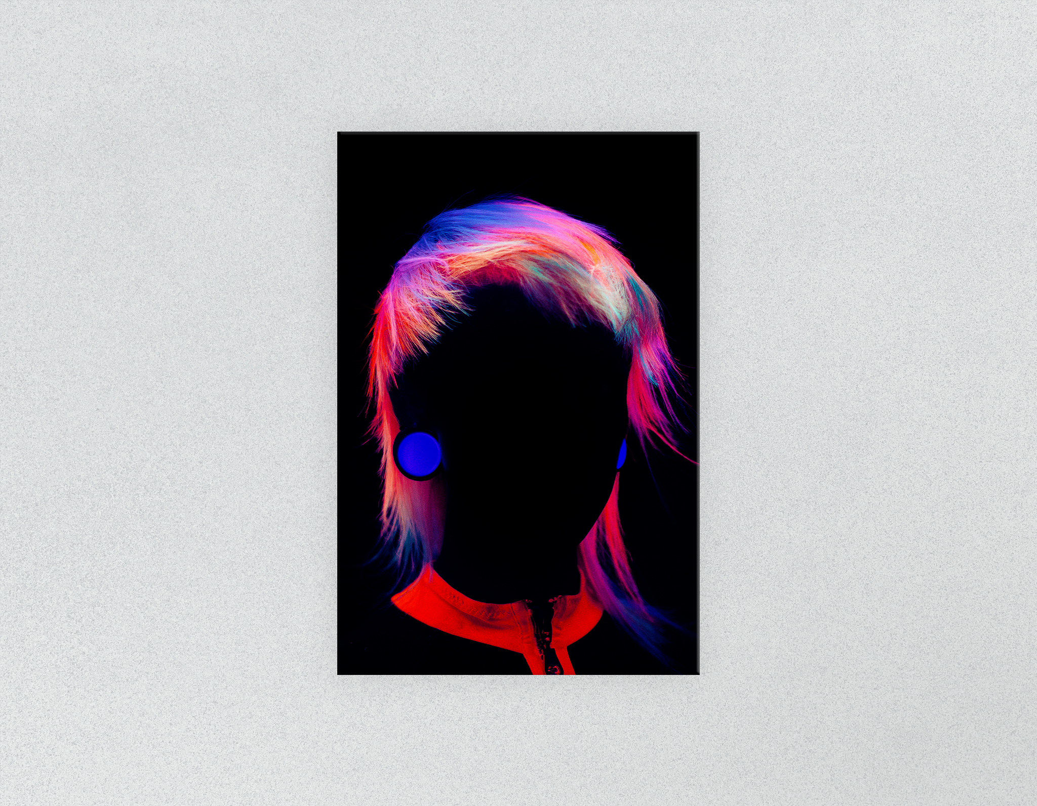 Plastic Salon Posters & Salon Posters: Bob with Neon Colored Hairstyle in Silhouette