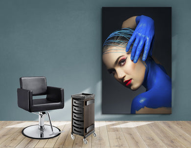 Aluminum Frames and Cloth - Woman in Blue Body Paint and Red Makeup - Bound for Style