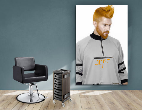 Aluminum Frame and Cloth - Man with High Fade Quiff and Fringe Haircut with Orange Hair color