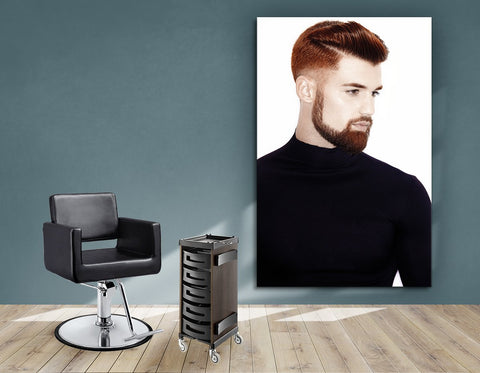 Aluminum Frames and Cloth - Man with High Fade Quiff Haircut in Black Outfit