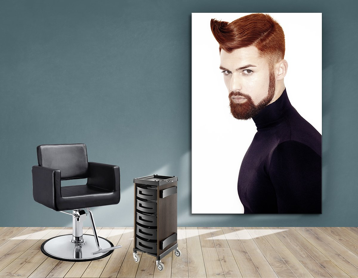 Salon Banners, Fabric & Aluminum Frames - Man with High Fade Quiff Haircut in Black Outfit