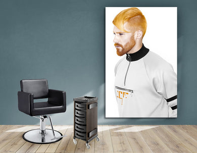 Textile Frames and Cloth - Man with High Fade Quiff and Fringe Haircut with Orange Hair color