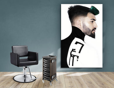 Textile Frames and Cloth - Man with High Fade Quiff Haircut in Black and White Outfit