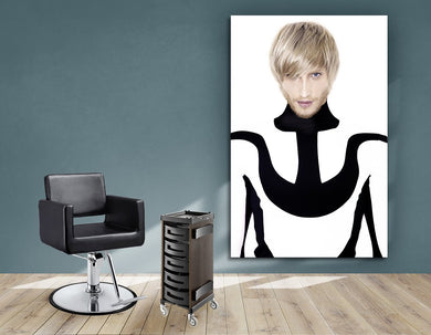 Textile Frames and Cloth - Man in Bob Haircut with Ash Blonde Hair Color