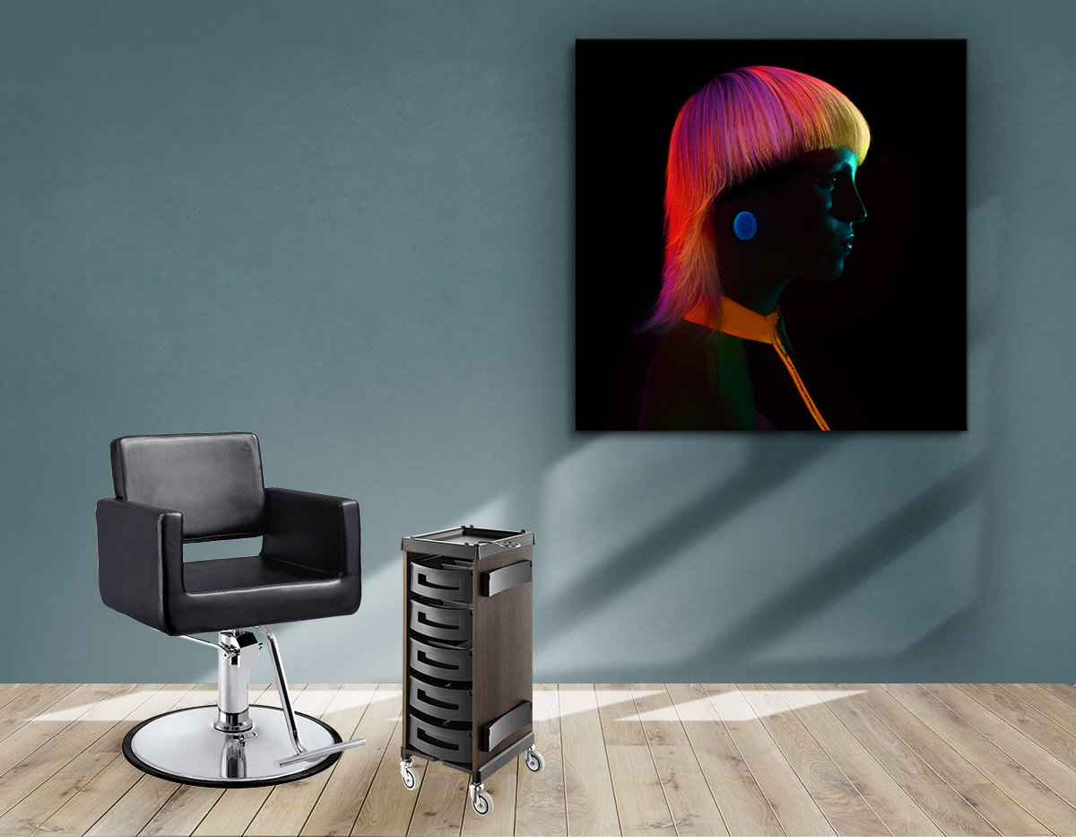 Textile Frames and Cloth - Bob with Neon Colored Hairstyle in Silhouette
