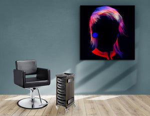 Textile Frame - Bob with Neon Colored Hairstyle in Silhouette