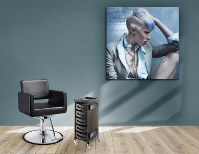 Aluminum Frames and Cloth - Woman with Pixie Cut and Blue Highlights - Bound for Style