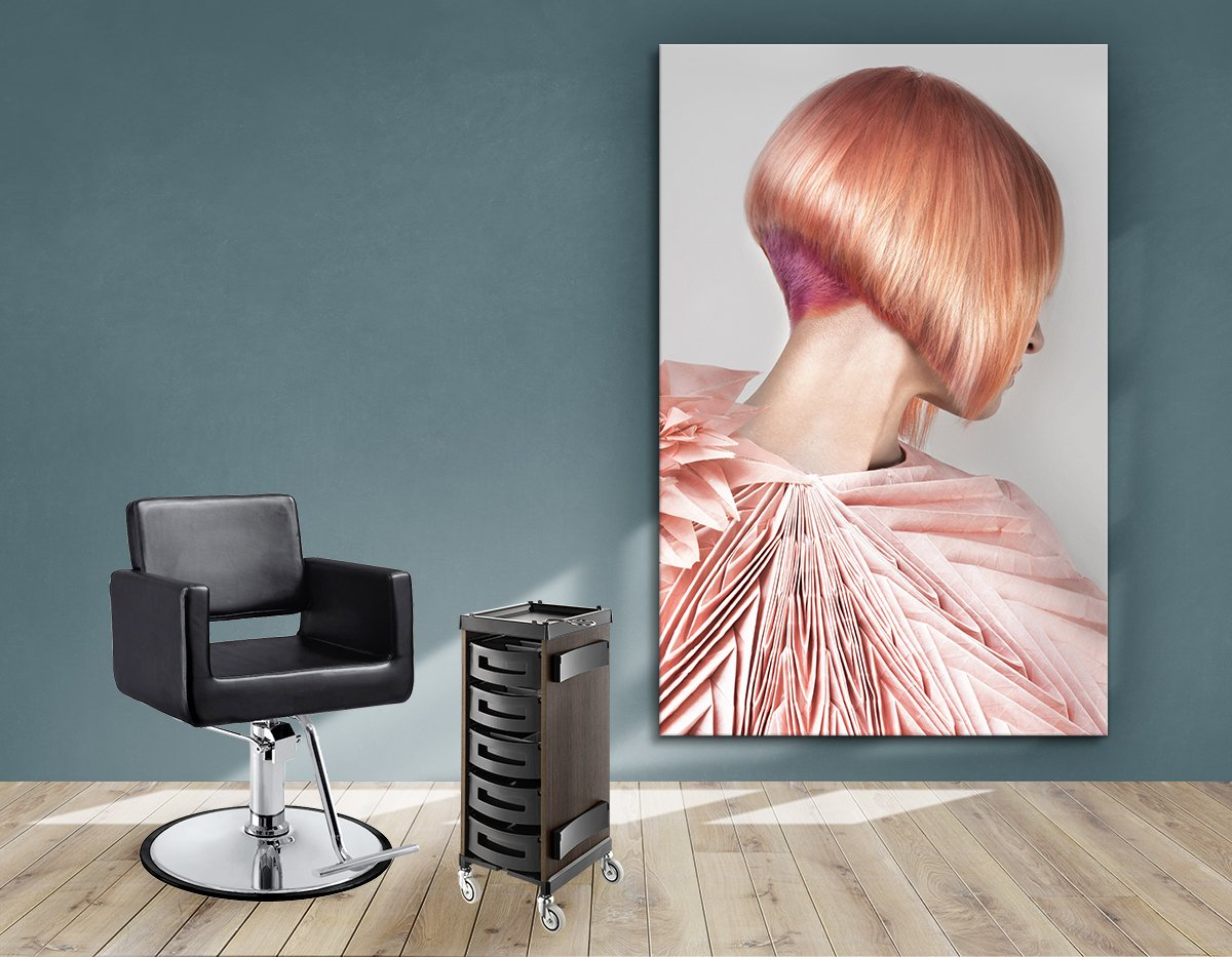 Salon Banners, Fabric & Aluminum Frames - Woman with Pink Colored Bob Hairstyle