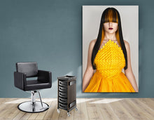 Load image into Gallery viewer, Textile Frames and Cloth - Woman with Long Straight Hair with Orange Highlights