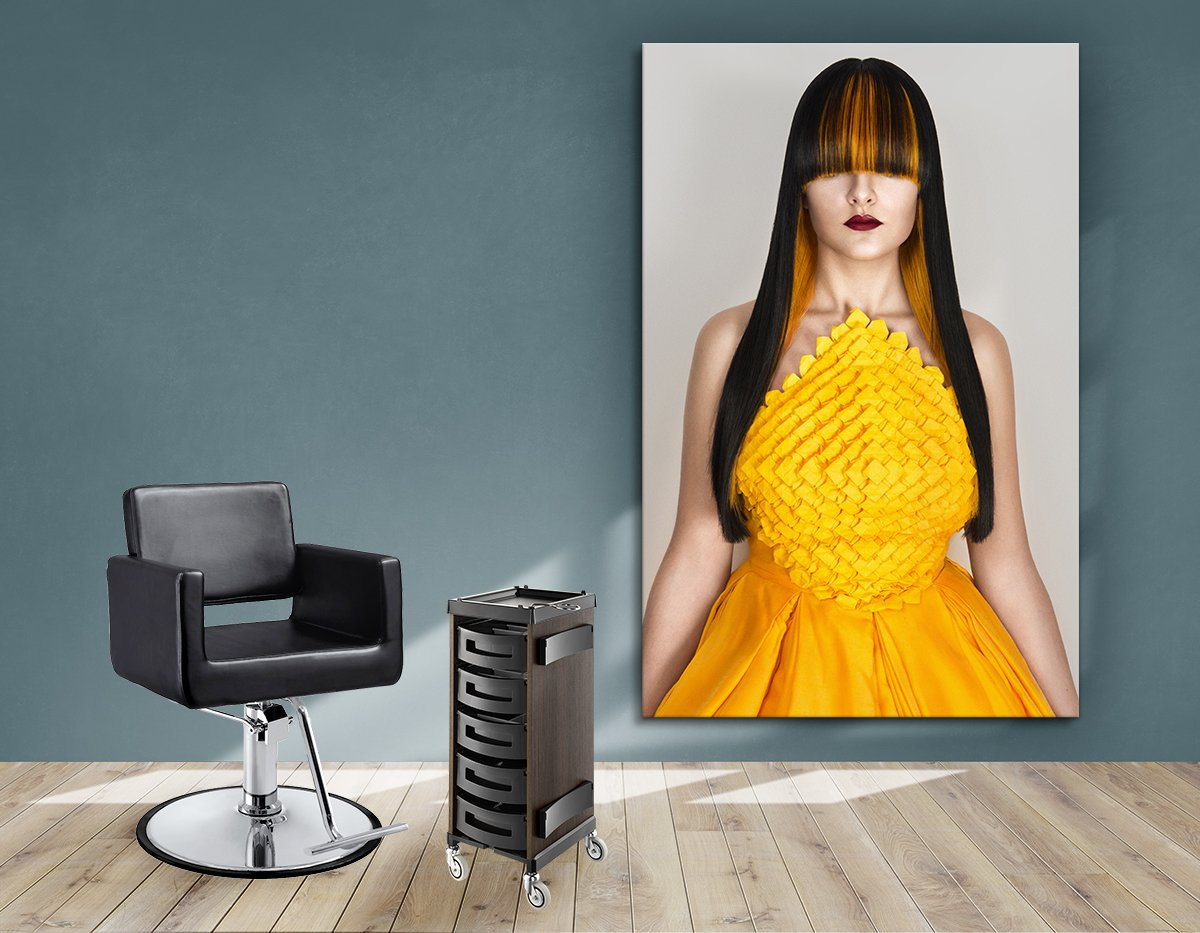 Aluminum Frames and Cloth - Woman with Long Straight Hair with Orange Highlights