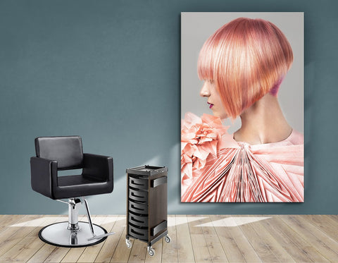 Aluminum Frames and Cloth - Woman with Pink Colored Bob Hairstyle