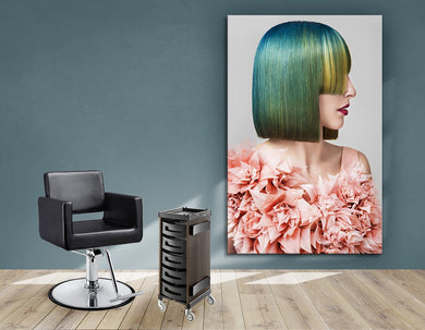 Textile Frames and Cloth - Woman with Green Hair in Peach Floral Textured Dress