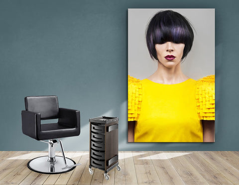 Salon Banners, Fabric & Aluminum Frames - Woman with Bob Hairstyle with Purple Highlights
