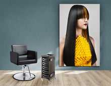 Load image into Gallery viewer, Textile Frame - Woman with Long Straight Hair with Orange Highlights