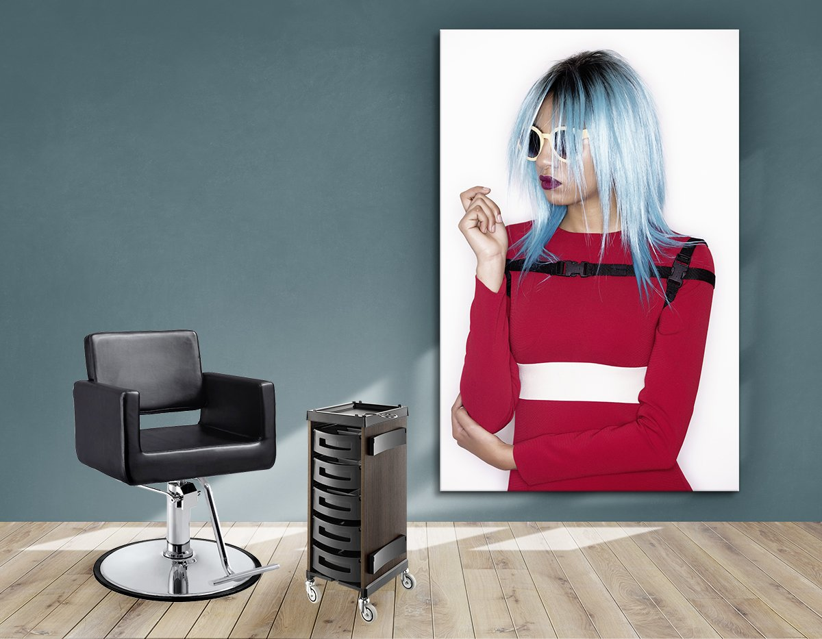 Textile Frame -Woman With Blue Bob Hairstyle In Red Dress