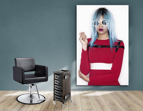 Aluminum Frames and Cloth - Woman with Blue Bob Hairstyle in Red Dress