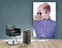 Load image into Gallery viewer, Textile Frame - Woman in Pink Hair Colored Pixie Cut
