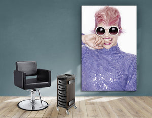 Textile Frames and Cloth - Woman in Pink Hair Colored Pixie Cut