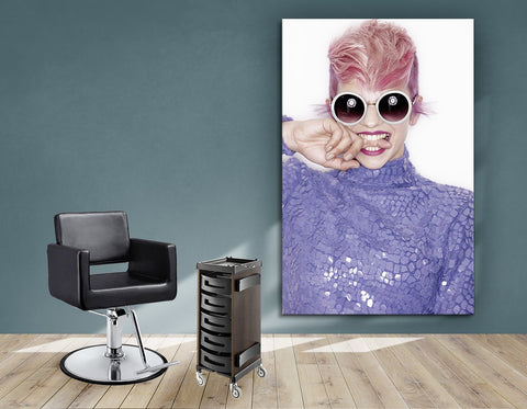 Salon Banners, Fabric & Aluminum Frames - Woman in Pink Hair Colored Pixie Cut