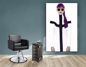 Textile Frames and Cloth - Woman with Long Purple Color Hair in Ponytail