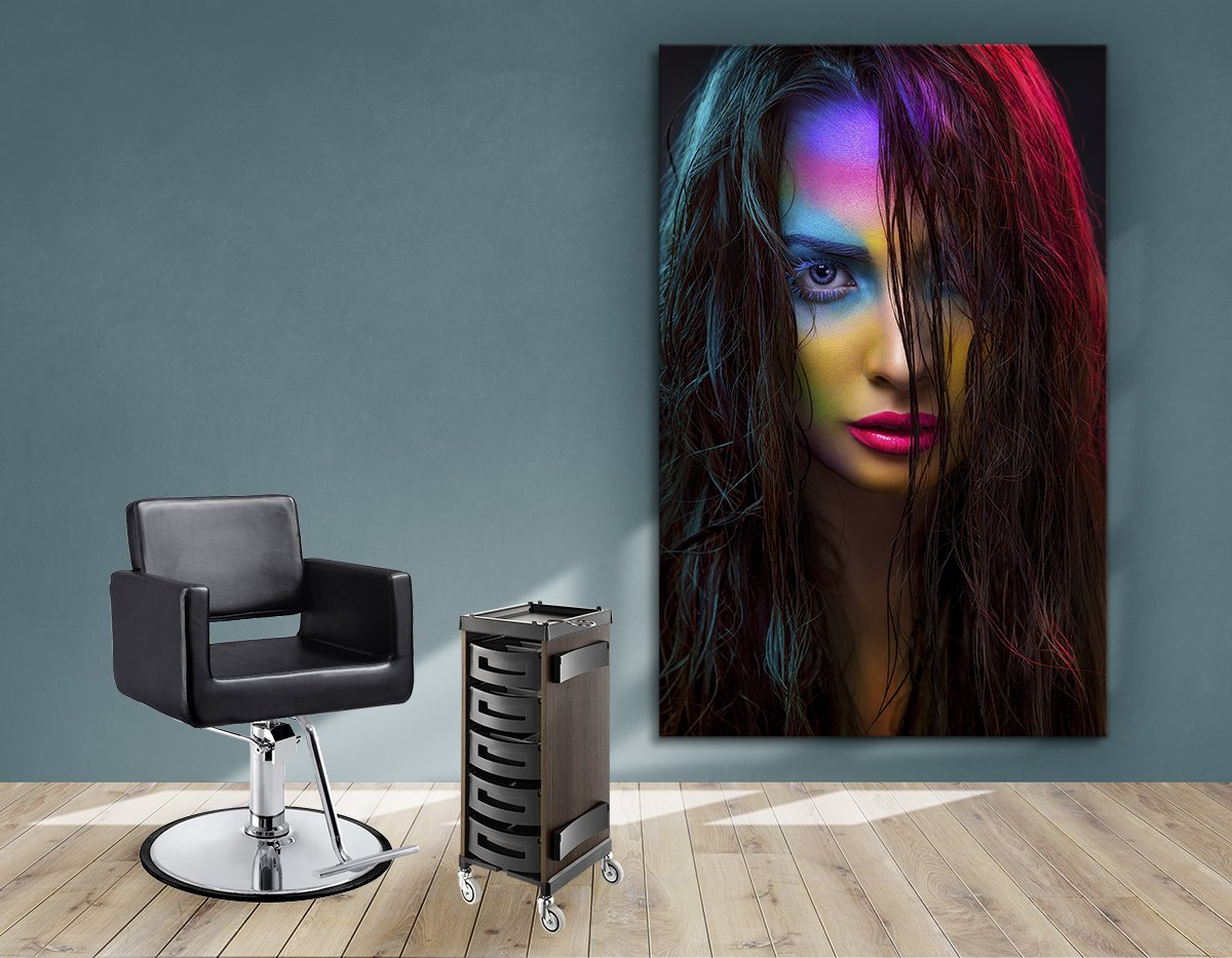 Textile Frames and Cloth - Woman in Neon Multi Colored Makeup