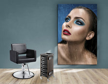 Load image into Gallery viewer, Textile Frames and Cloth - Woman in Bright Blue Eyeshadow in the Rain