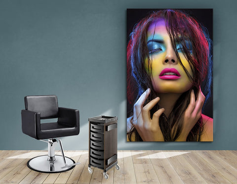 Aluminum Frames and Cloth - Woman in Neon Multi Colored Makeup