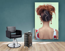 Load image into Gallery viewer, Textile Frame - Woman in High Topknot with Slight Messy Tease