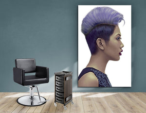 Textile Frames and Cloth - Woman with Short Hairstyle in Purple Shade Hair Color