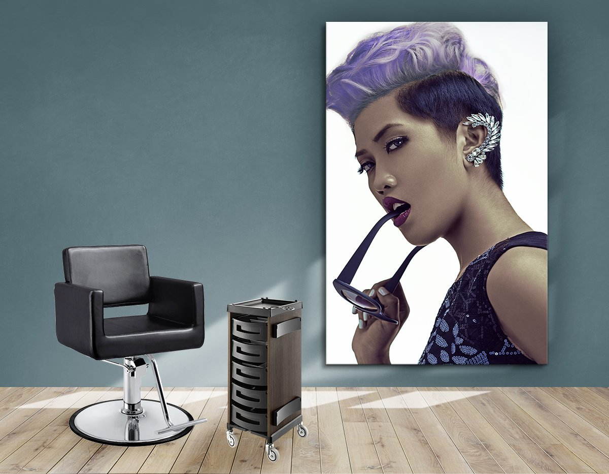 Aluminum Frames and Cloth - Woman with Short Hairstyle in Purple Shade Hair Color