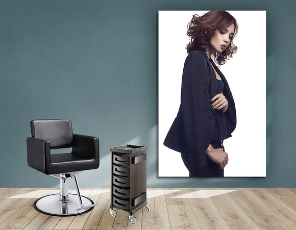 Salon Banners, Fabric & Aluminum Frames - Woman with Messy Tousle and Center Part - Bound for Style