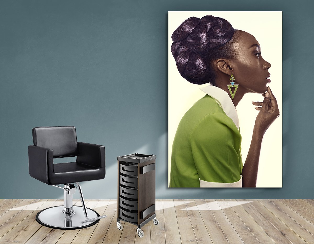 Textile Frames and Cloth - Dark Skinned Woman in Updo with Big Curls