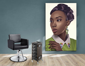 Textile Frames and Cloth - Black Woman in Updo with Big Curls