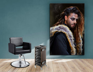 Textile Frame - Brunette Long haired Man with Shaved sides in Steampunk Theme
