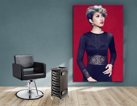 Salon Banners, Fabric & Aluminum Frames - Woman with Ash Gray Hair Color and Big Curls