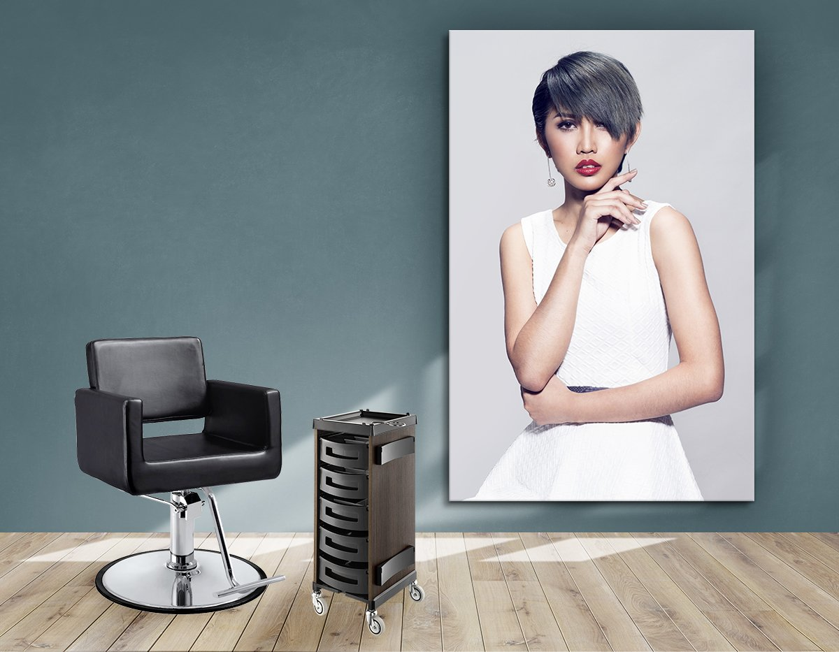 Textile Frame - Woman with Bob Haircut and Ash Gray Hair Color