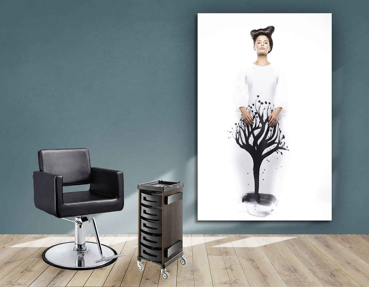 Textile Frames and Cloth - Woman in Quiff Hairstyle with Tree Graphic Design Gown