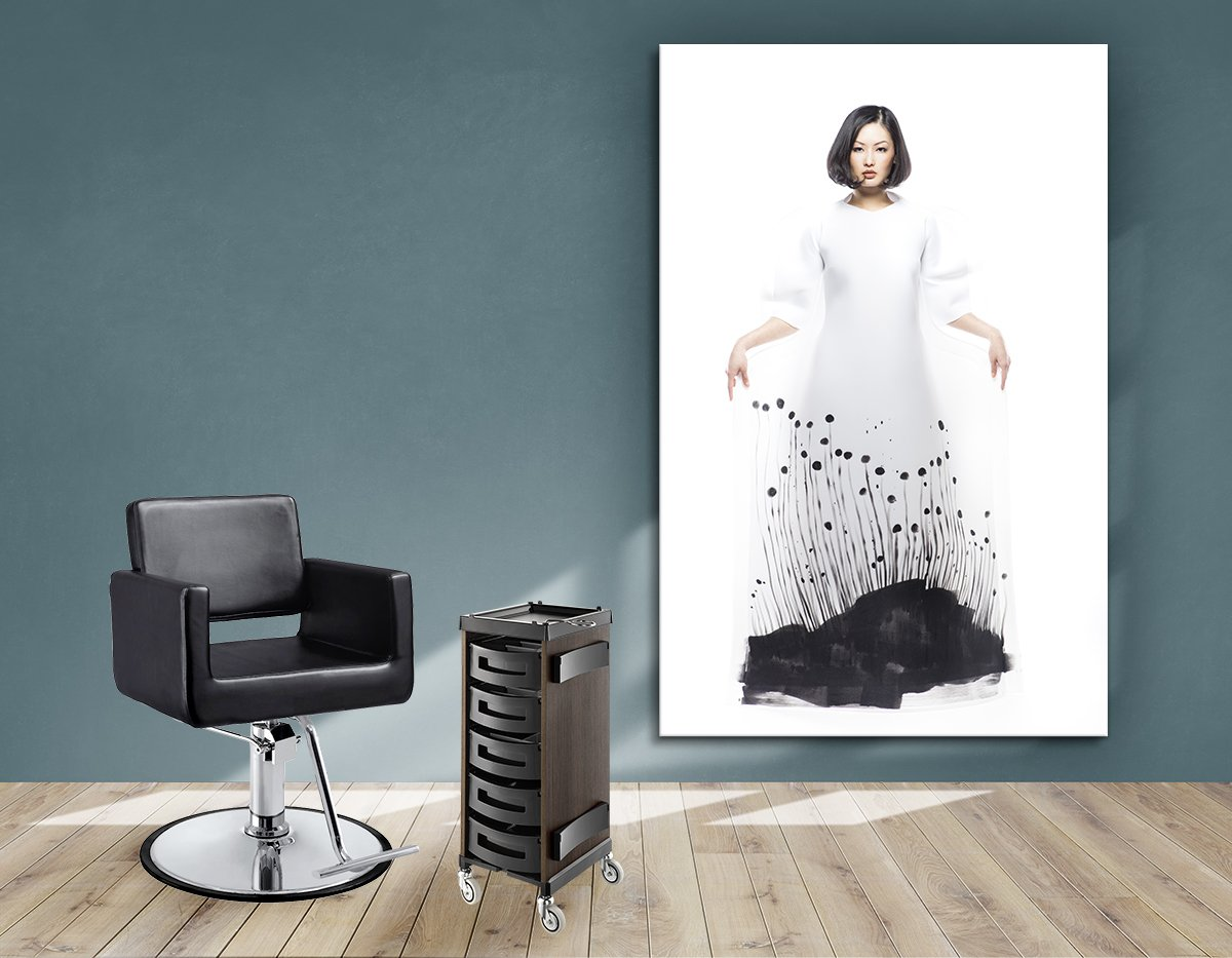 Aluminum Frames and Cloth - Woman in Bob Hairstyle with Graphic Design Gown