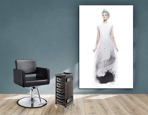 Aluminum Frames and Cloth - Woman with Blue Spiky Hair in Graphic Gown