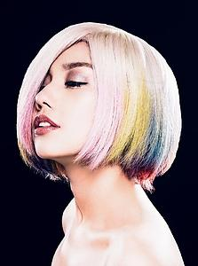 Downloadable Beauty Salon Photo - Woman in Pink, Blue, Yellow Unicorn Hair