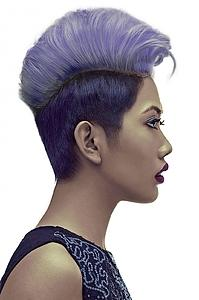 Downloadable Beauty Salon Photo - Woman with Short Hairstyle in Purple Shade Hair Color