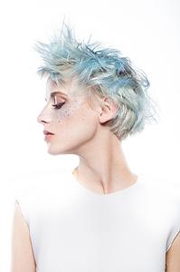Downloadable Beauty Salon Photo - Woman with Blue Spiky Hair - Bound for Style