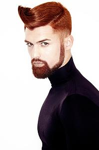 Downloadable Beauty Salon Photo - Man with High Fade Quiff Haircut in Black Outfit