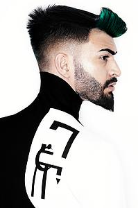 Downloadable Beauty Salon Photo - Man with High Fade Quiff Haircut in Black and White Outfit - Bound for Style